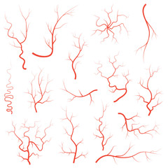 Human red eye veins set, anatomy blood vessel arteries illustration group.  medical eyeball vein arteries system map. Veins isolated on white background
