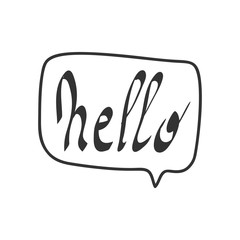Hello quote message bubble. Calligraphic simple logo introduction style illustration. Simple black white sign lettering.