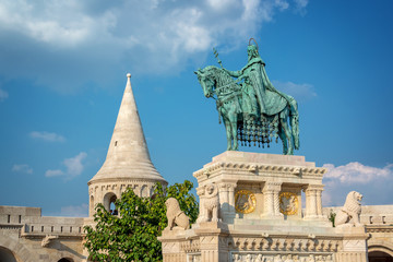 Wall Mural - St Stephen's statue at Fisherman's bastion in Budapest, Hungary