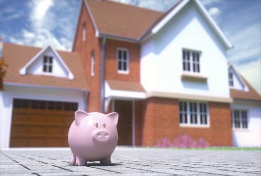 Saving for a home, conceptual illustration, illustration