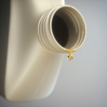 Engine oil dripping from a bottle, illustration