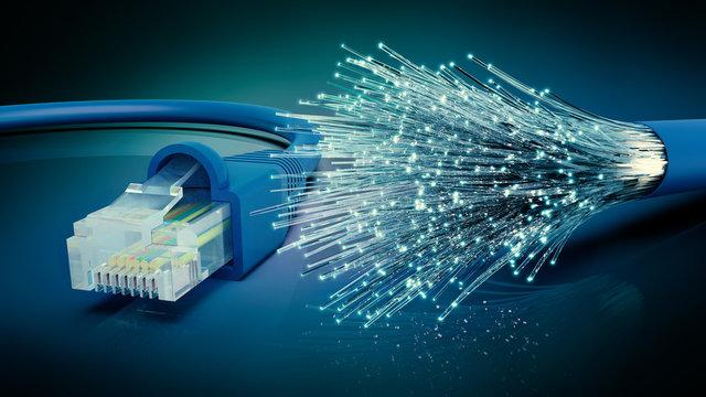 Netzwerkkabel und optisches Glasfaser Kabel, 3D Rendering