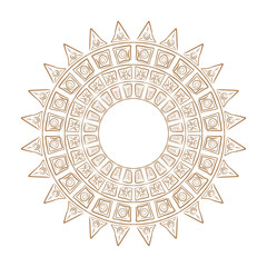 Ethnic circle ornament.Magic pattern the sun.