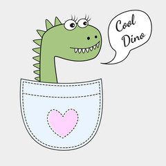 Cute cool dino girl in the pocket isolated on white background. Sweet kids graphics for t-shirts. Greeting card. Vector illustration.