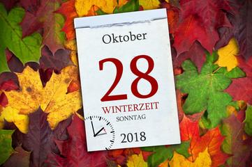 Kalender mit Zeitumstellung Winterzeit Oktober 2018