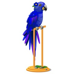 Beautiful bird blue parrot sitting on a wooden perch isolated on white background. Vector cartoon close-up illustration.