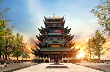 Ancient architecture temple pagoda in the park, Chongqing, China