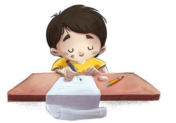 niño escribiendo una carta