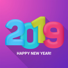 A Happy New Year greetings card. Multicolored balloons numeral 2019. Vector illustration