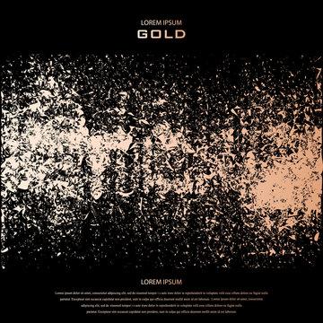 Blush gold. Abstract golden quartz background. Vector illustration. Copper foil line. Bronze glitter stripes. Grunge texture. Patina scratch, cracks golden elements. Vintage illustration. Crack