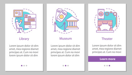 Entertainment and leisure onboarding mobile app page screen with