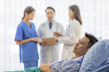 Worried patient in bed