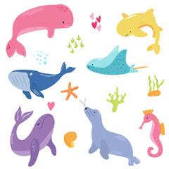 Bright set with cute marine animals.