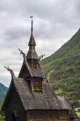 The Borgund Stave Church, Norway on a cloudy day.
