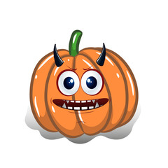 Cartoon pumpkin with horns, design for the holiday of Halloween, on a white background,