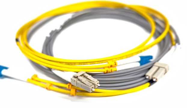 Fiber optic patchcords LC isolated on white background