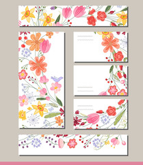 Summer templates with contour flowers. Template for your design, greeting cards, festive announcements, posters.
