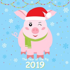Happy New Year.  Year pig. Cute Pig design on blue background for greetings card, flyers, invitation, banners. Vector illustration.