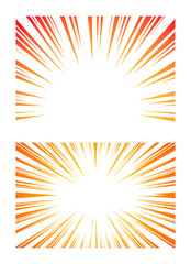 Set of Sun Rays or Explosion Boom for Comic Books Radial Background Vector