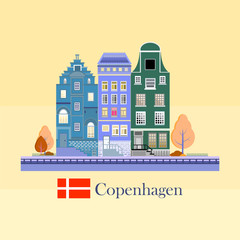 Facades of cute european old buildings. Detailed graphic houses set. Old town.Flat style vector illustration.Copenhagen.Denmark.