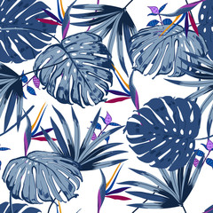 vector seamless beautiful artistic monotone blue tropical leaves pattern with exotic forest. Colorful original stylish floral background print,
