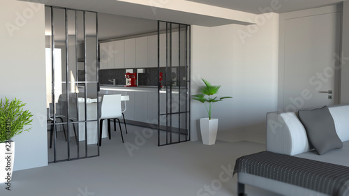 Porta scorrevole, divisorio ambiente soggiorno e cucina, ingresso ...