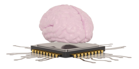 Cpu with brain isolated on white background 3D illustration.