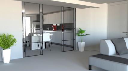 Porta scorrevole, divisorio ambiente soggiorno e cucina, ingresso appartamento moderno, stile industrial. 3d rendering