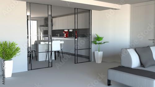 Porta Scorrevole Divisorio Ambiente Soggiorno E Cucina Ingresso Appartamento Moderno Stile Industrial 3d Rendering Wall Mural Naeblys