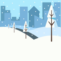 Winter landscape of the park in the city with trees where everything is covered with snow. Vector illustration can be used as background, at web, as a poster.