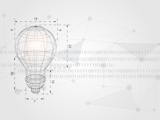 Wireframe lightbulb on digits as background represent technology concept and innovation. Technology Background. Vector Illustration.