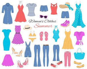 Women clothes collection, vector illustration.