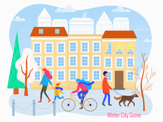 Winter cityscape vector flat illustration. City scene.