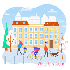 Winter sityscape vector flat illustration. City scene.