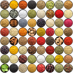 Fototapete - Indian spices isolated on white background. Asian flavoring set