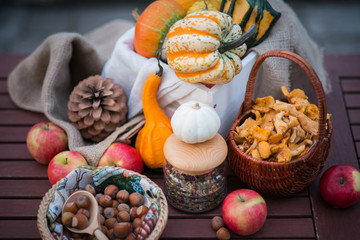 Decoration for halloween with pumpkins, nuts and flowers on the table in autumn