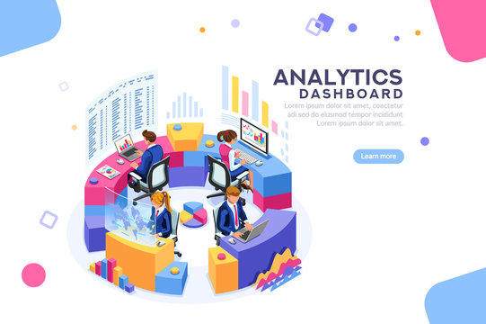 Charts key server statistic, performance indicators concept. Analyst on management process. analytics dashboard. Virtual screen showing sales concept. Characters on flat isometric Vector illustration.