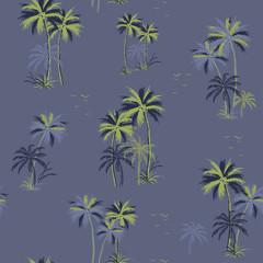 Beautiful seamless island pattern on smoke blue background.