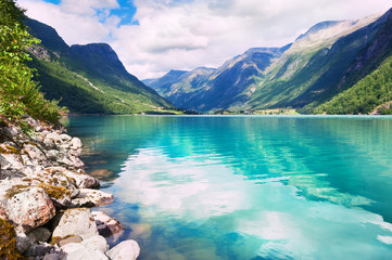 Oldevatnet lake in the mountains in Norway. Beautiful summer landscape