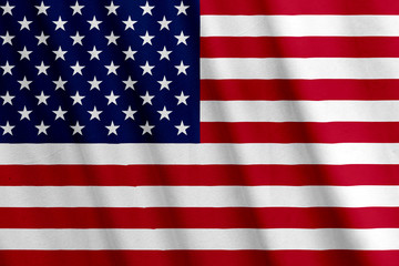 Waving USA flag with a fabric texture