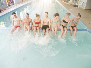 friends at the pool having fun
