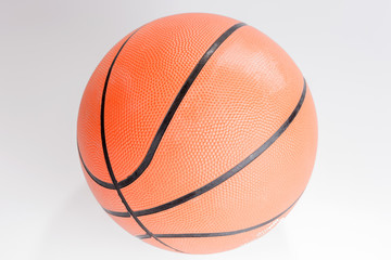 Orange color Basketball over white background. Basketball isolated