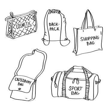 Set of hand drawn bags doodles isolated on a white background.