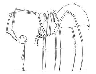 Cartoon stick drawing illustration of man facing giant spider monster.