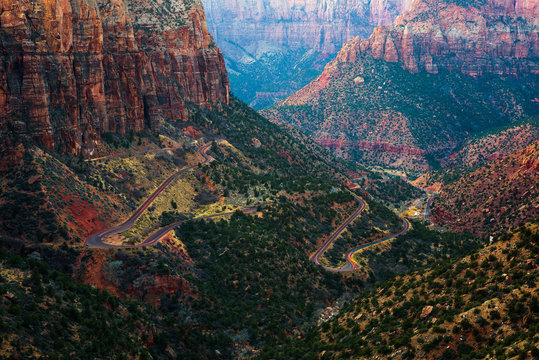 Road through the Zion National Park in Utah