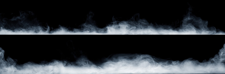 Fototapeten Rauch Panoramic view of the abstract fog or smoke move on black background. White cloudiness, mist or smog background.