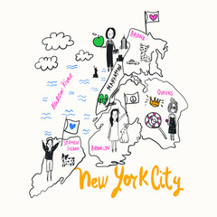 Hand drawn map vector design for t shirt printing