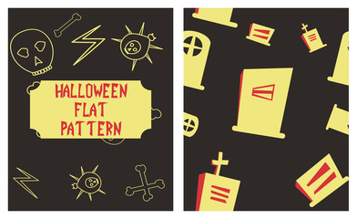 Set of Halloween festive pattern. Endless background with pumpkins, skulls, bats, spiders, ghosts, bones, candies, spider web