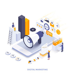 Flat color Modern Isometric Illustration design - Digital Marketing