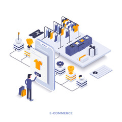 Flat color Modern Isometric Illustration design - E-Commerce
